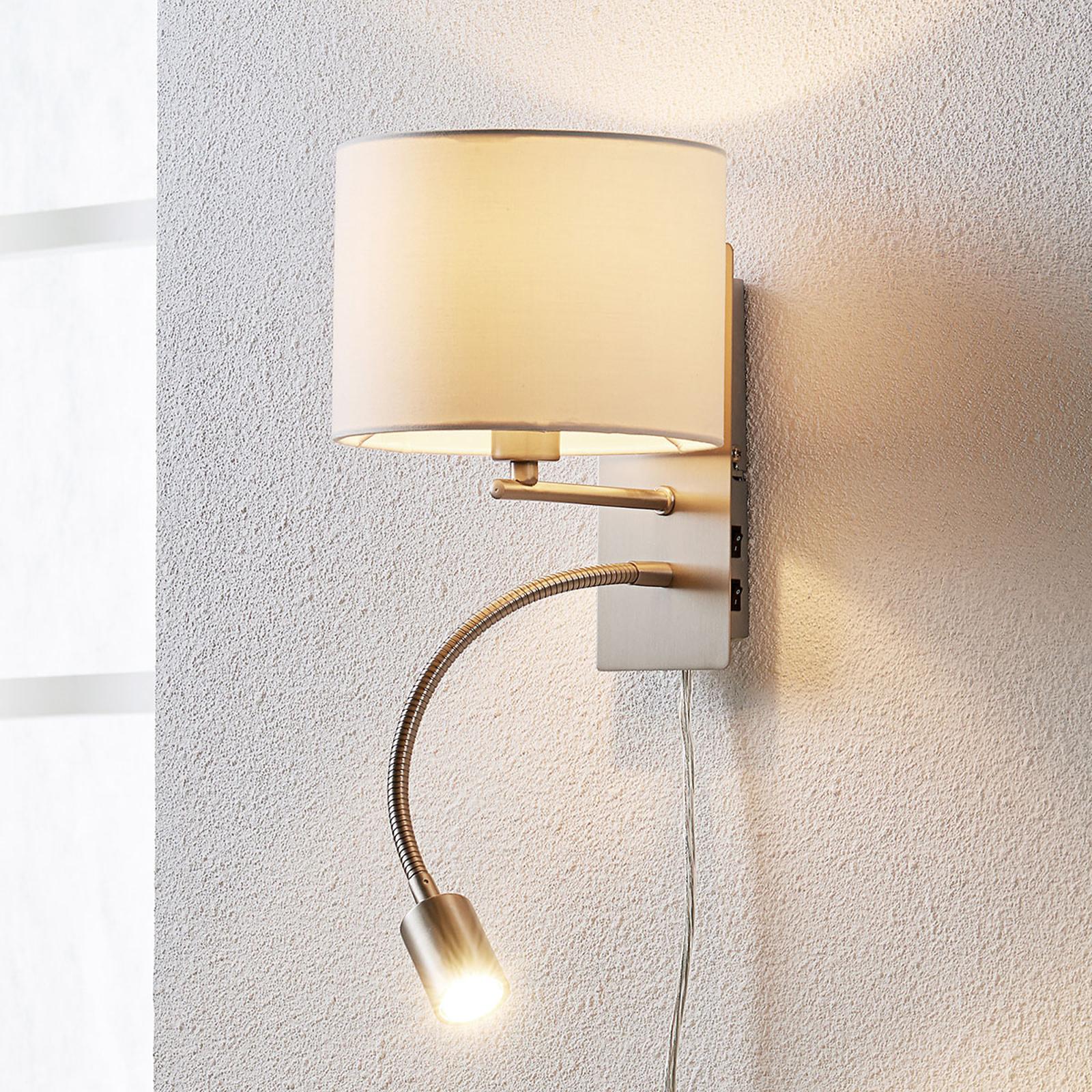Florens - textilní lampa s čtecím světlem LED