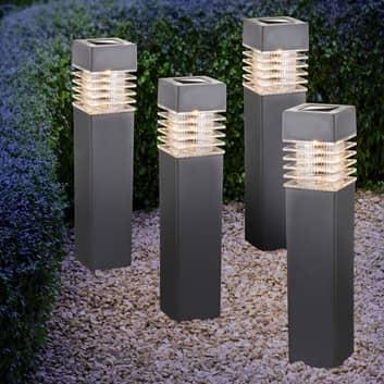 Lampe piquet solaire LED 33269-4, lot de 4, gris