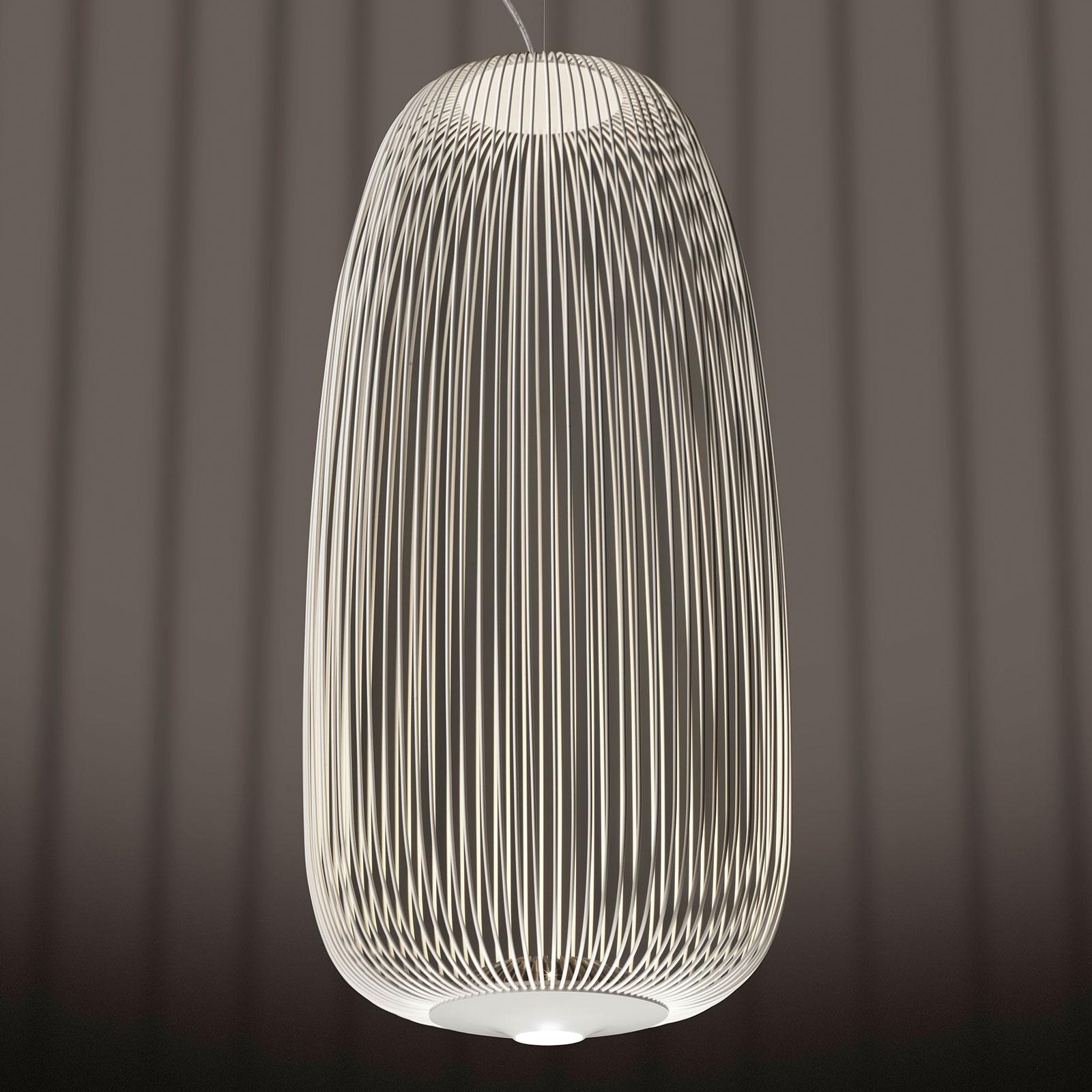 Foscarini Spokes 1 LED-pendellampa, dimbar vit