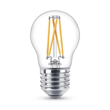 Philips WarmGlow LED-lampa E27 P45 2W klar