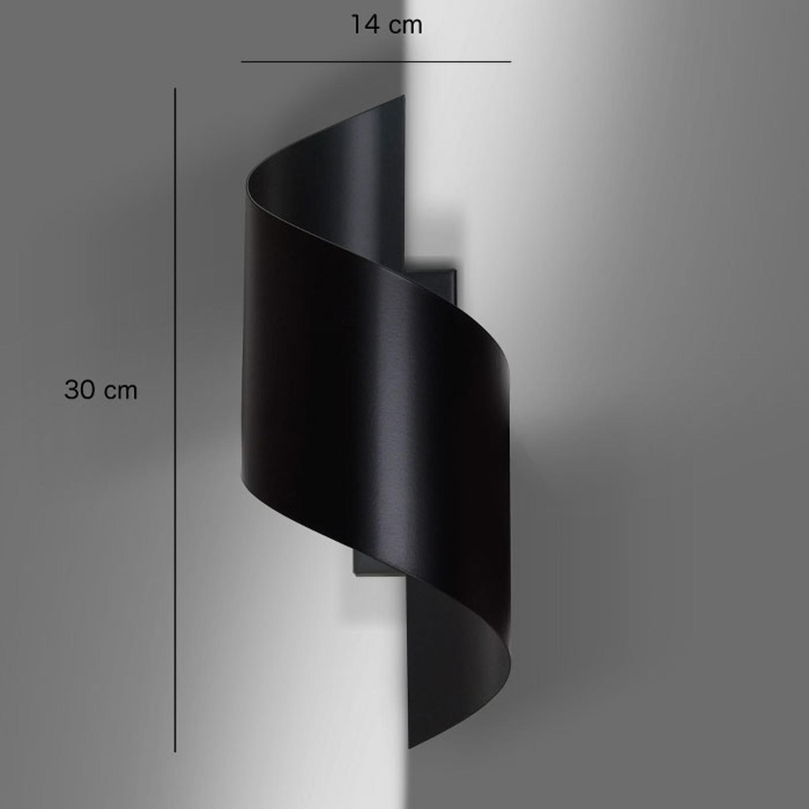Wandlamp Spiner in de vorm van een spiraal, zwart