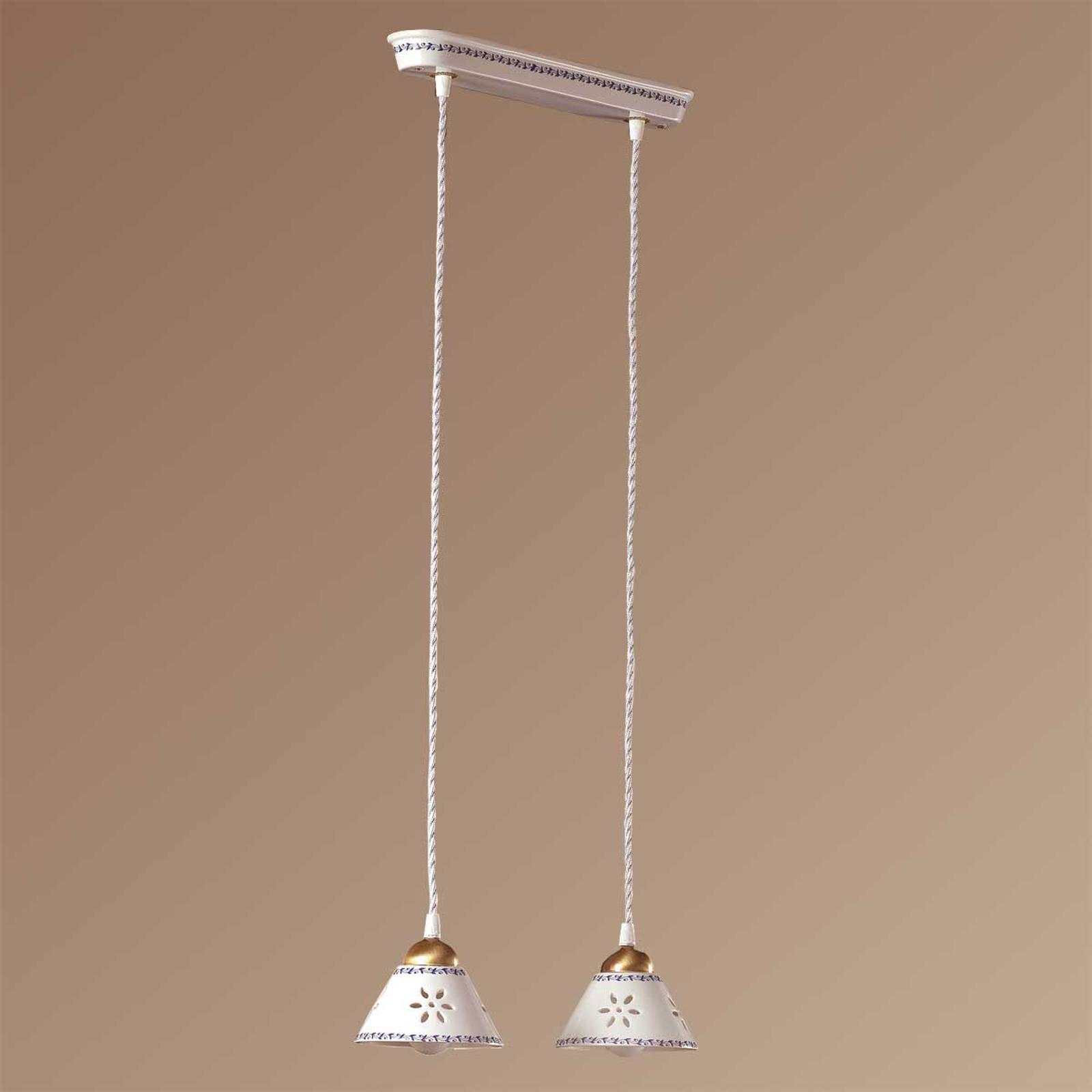 Hanglamp NONNA van wit keramiek, 2-lichts