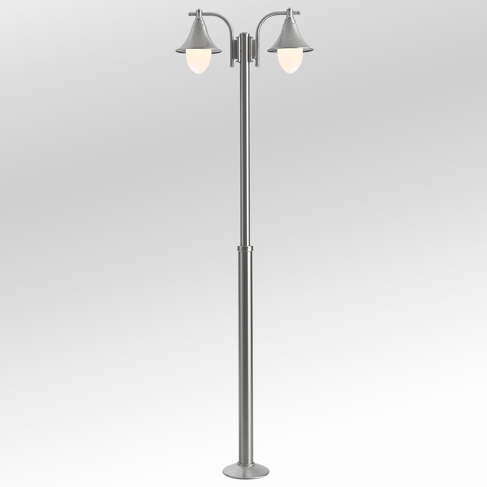 Lampione a 2 luci Marlitt in acciaio inossidabile