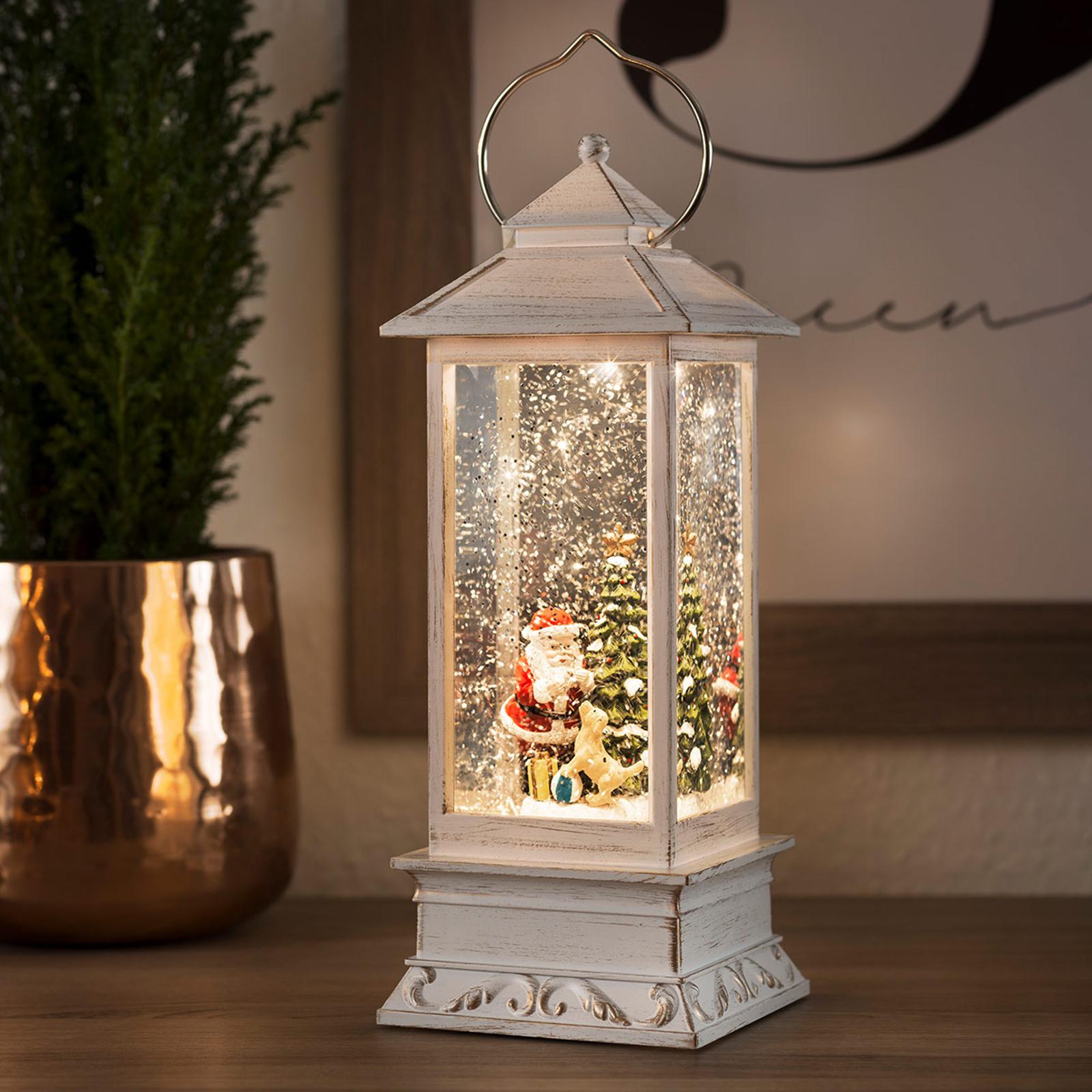 LED-Wasserlaterne Weihnachtsmann mit Hund
