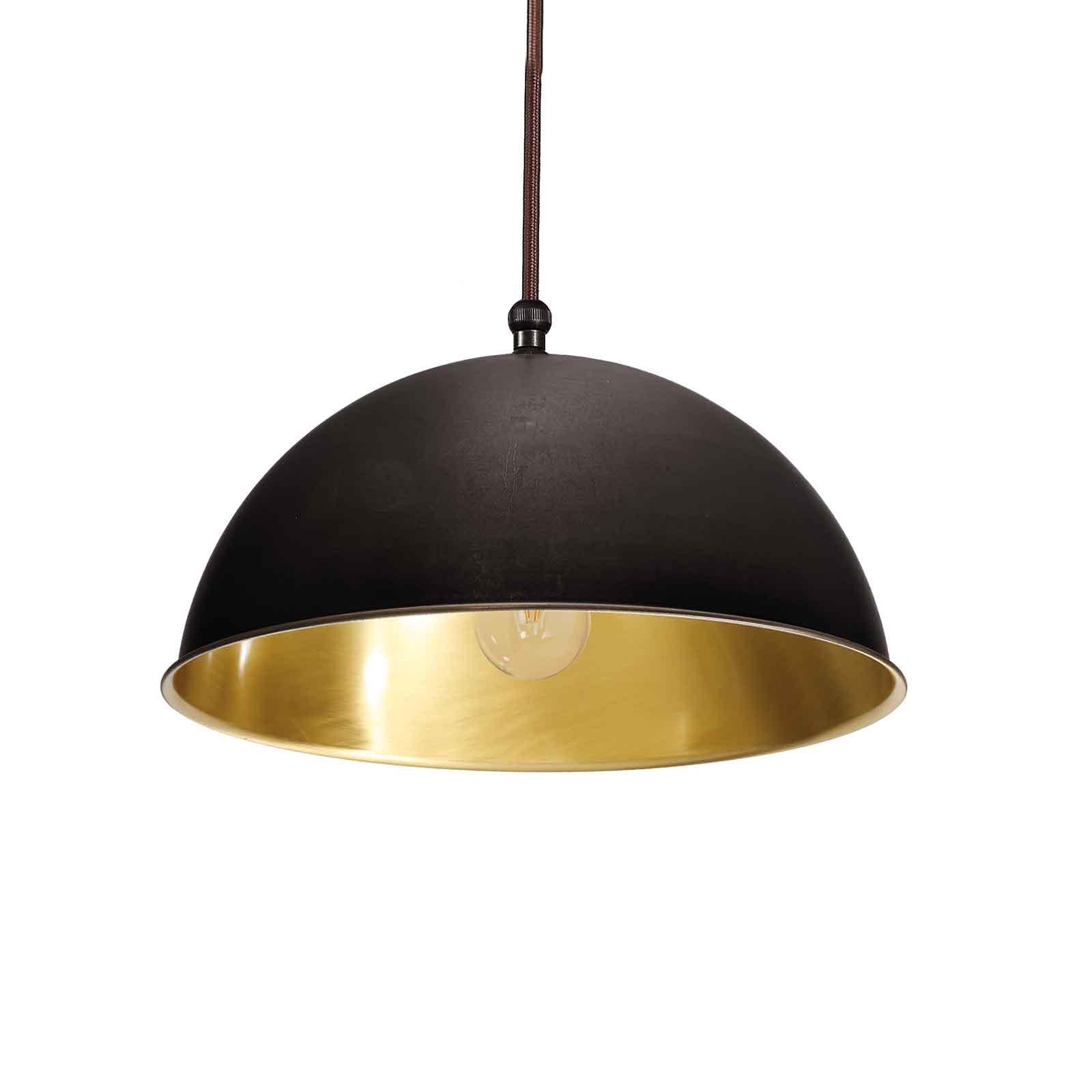 Circle hengelampe gull/ brunert messing, Ø20cm