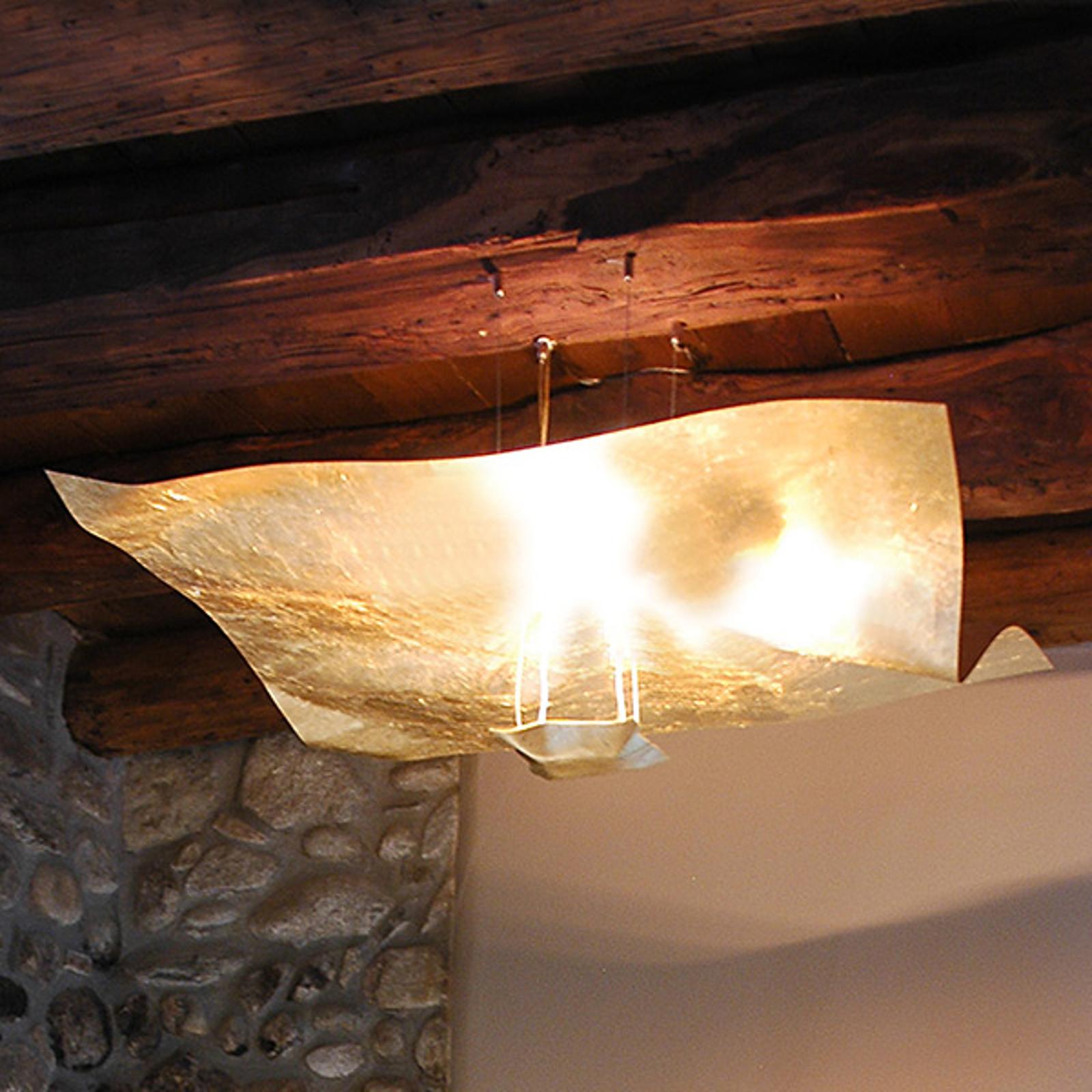 Forgyldt hængelampe Crash 100 cm