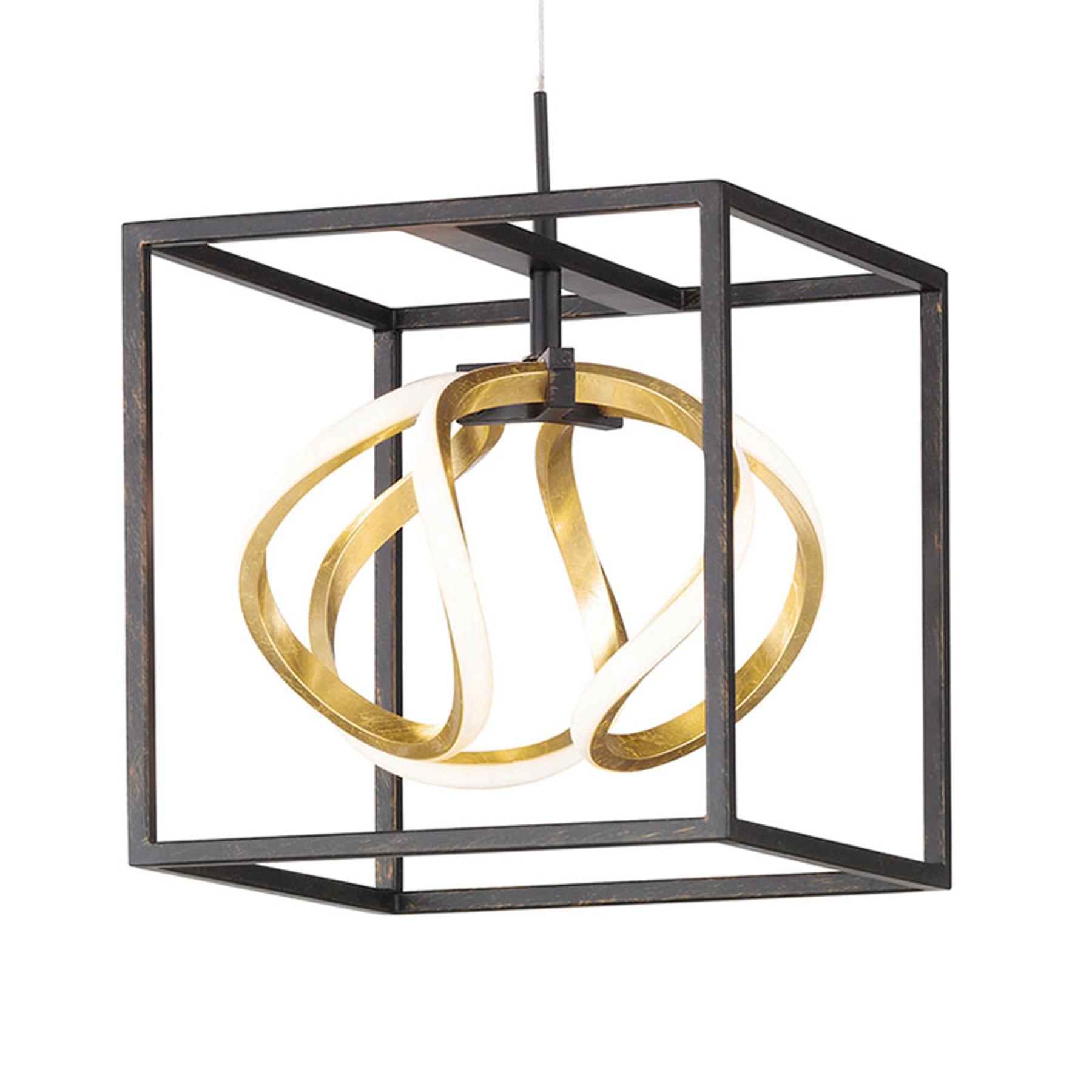 Suspension LED Gesa avec cage en métal, à 1 lampe