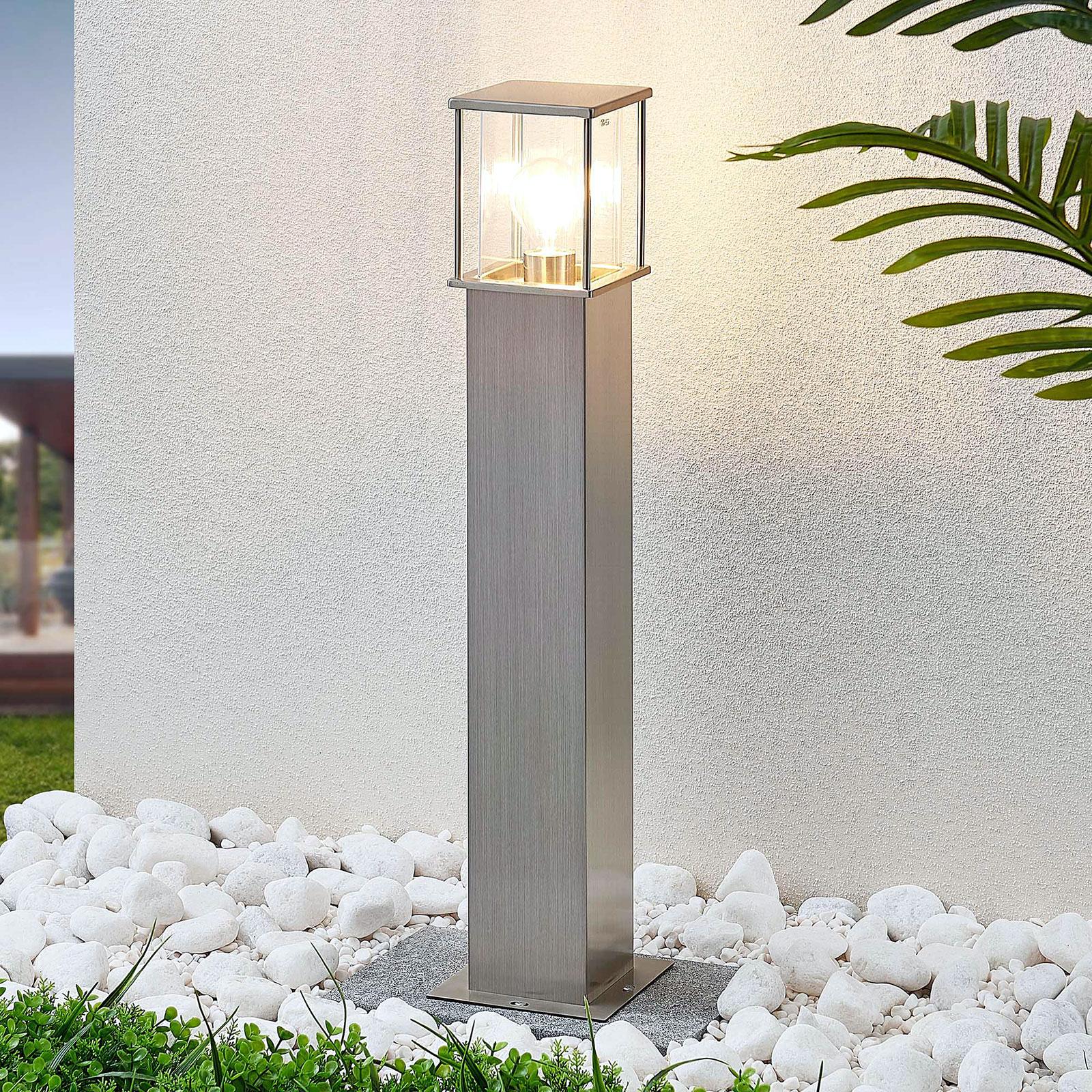 Edelstahl-Wegelampe Caspa, eckig