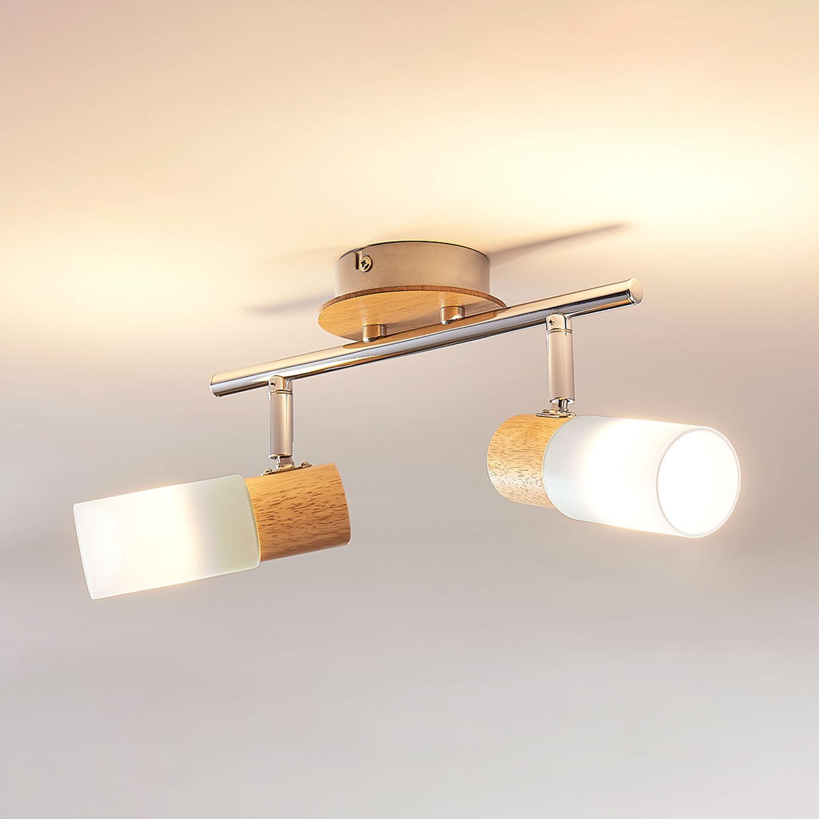 Spot LED Christoph avec bois, 2 lampes