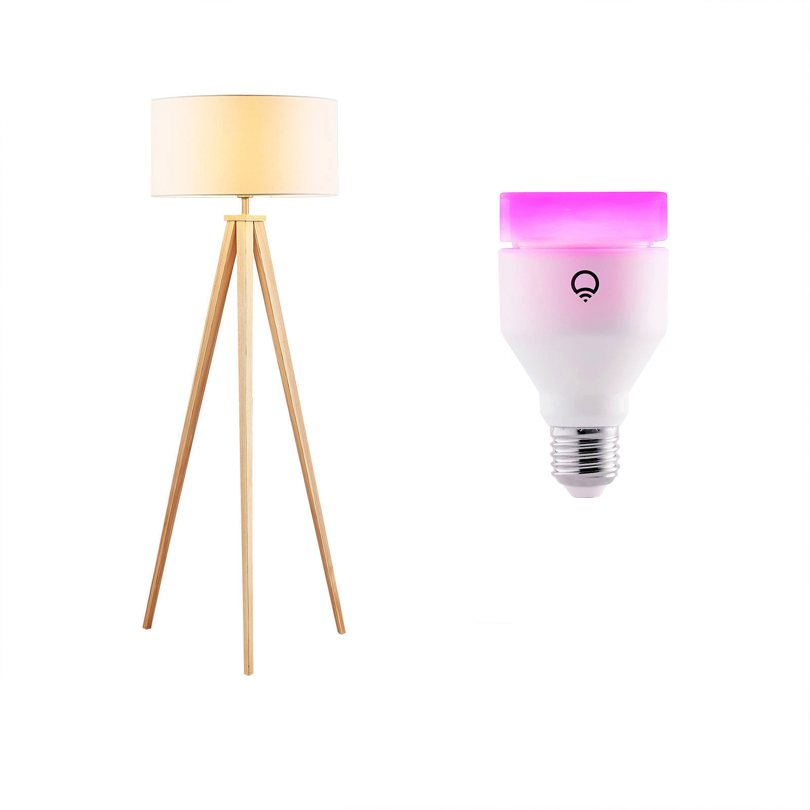 Holz-Stehleuchte Mya inklusive LIFX E27-Lampe RGBW