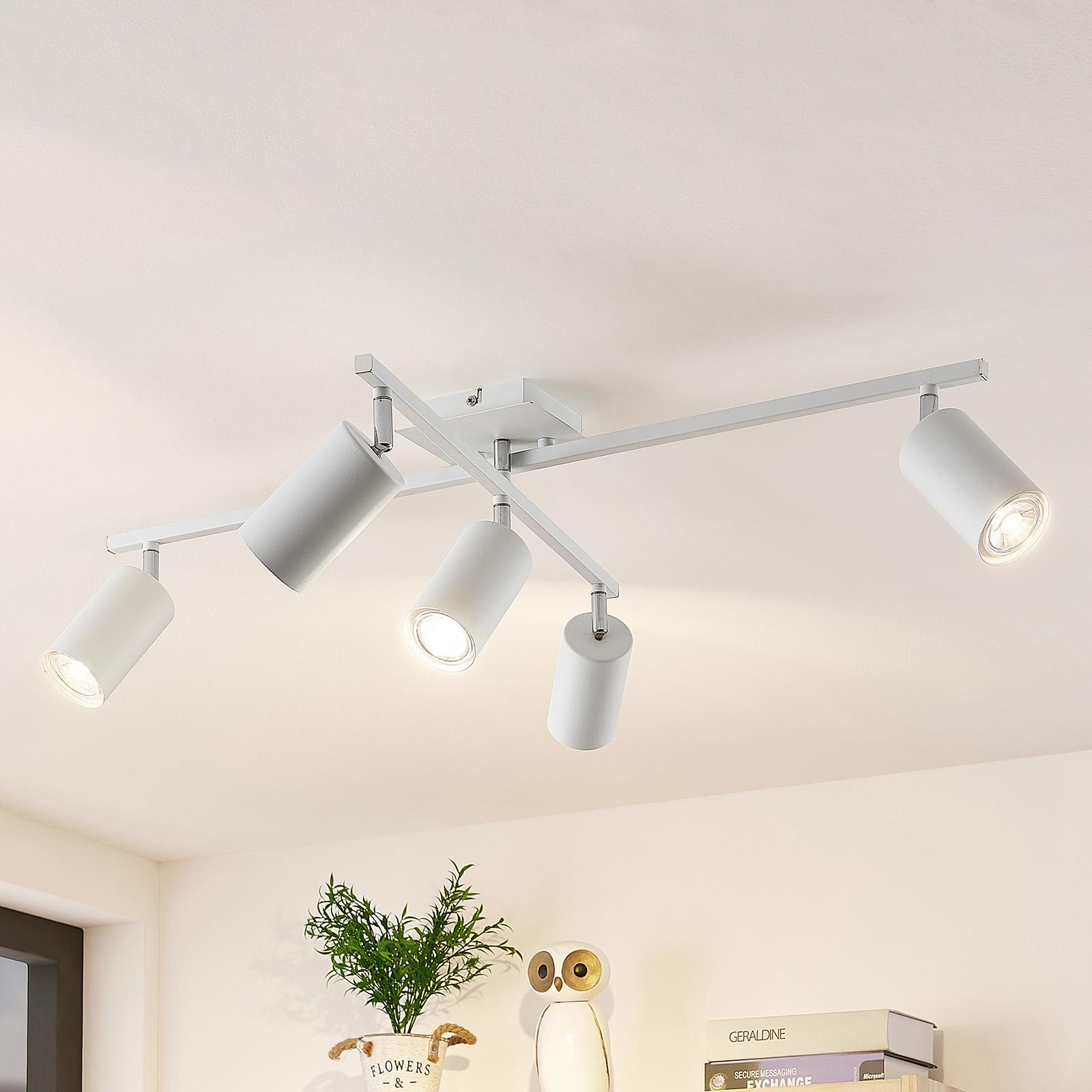 Lindby Ebardo plafondlamp, 5-lamps, wit