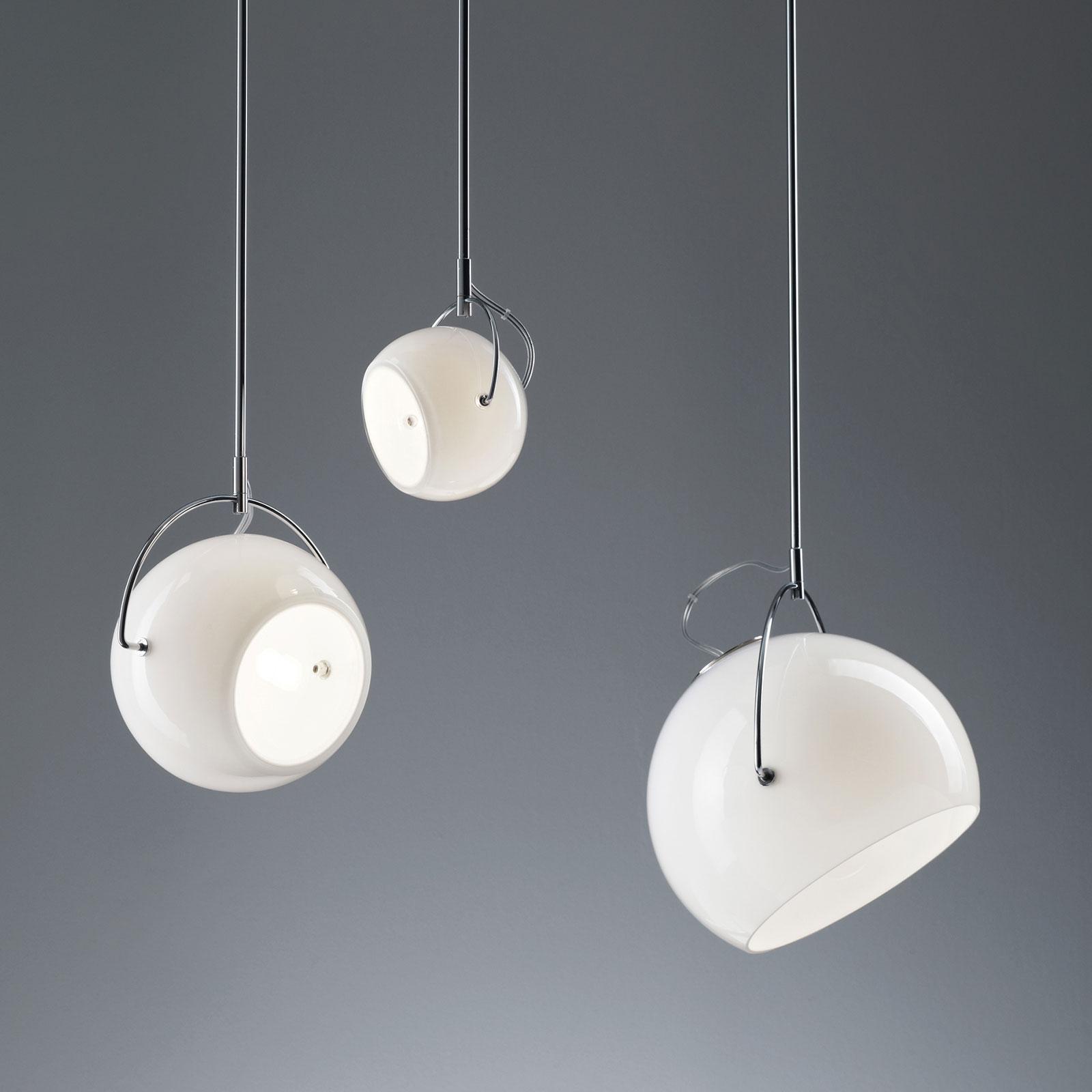 Fabbian Beluga White Glas-Hängeleuchte, Ø 20 cm