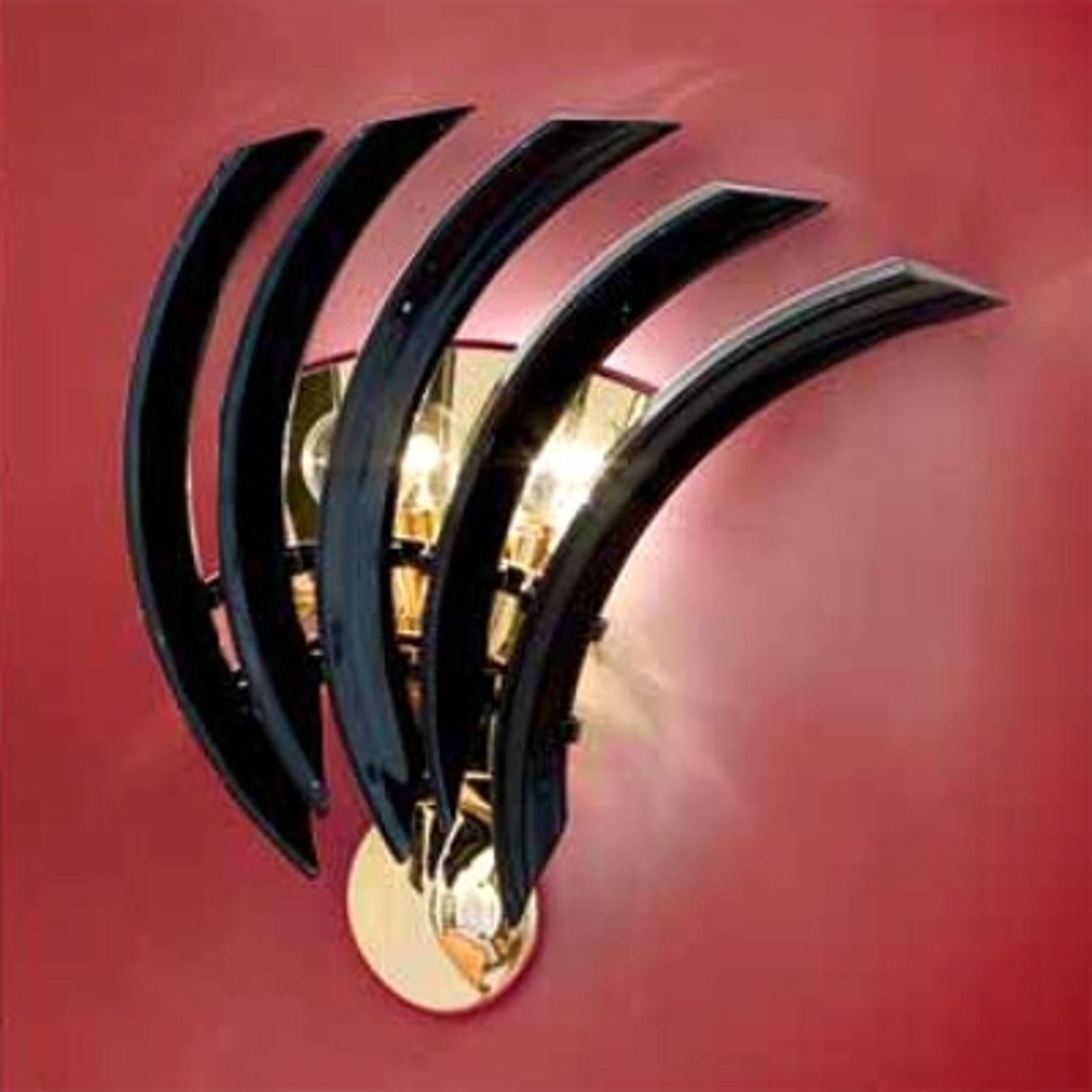 Zwarte wandlamp RONDO van Muranoglas
