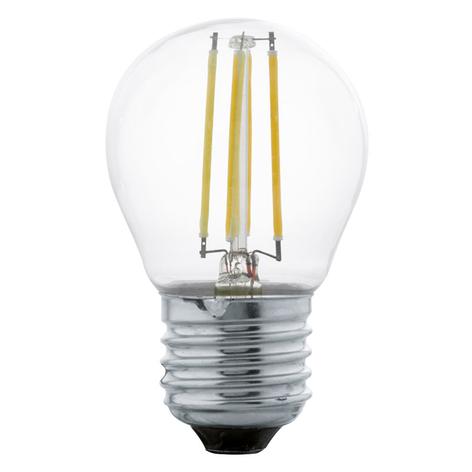 LED-filamentpære E27 G45 4 W, varmhvit, klar
