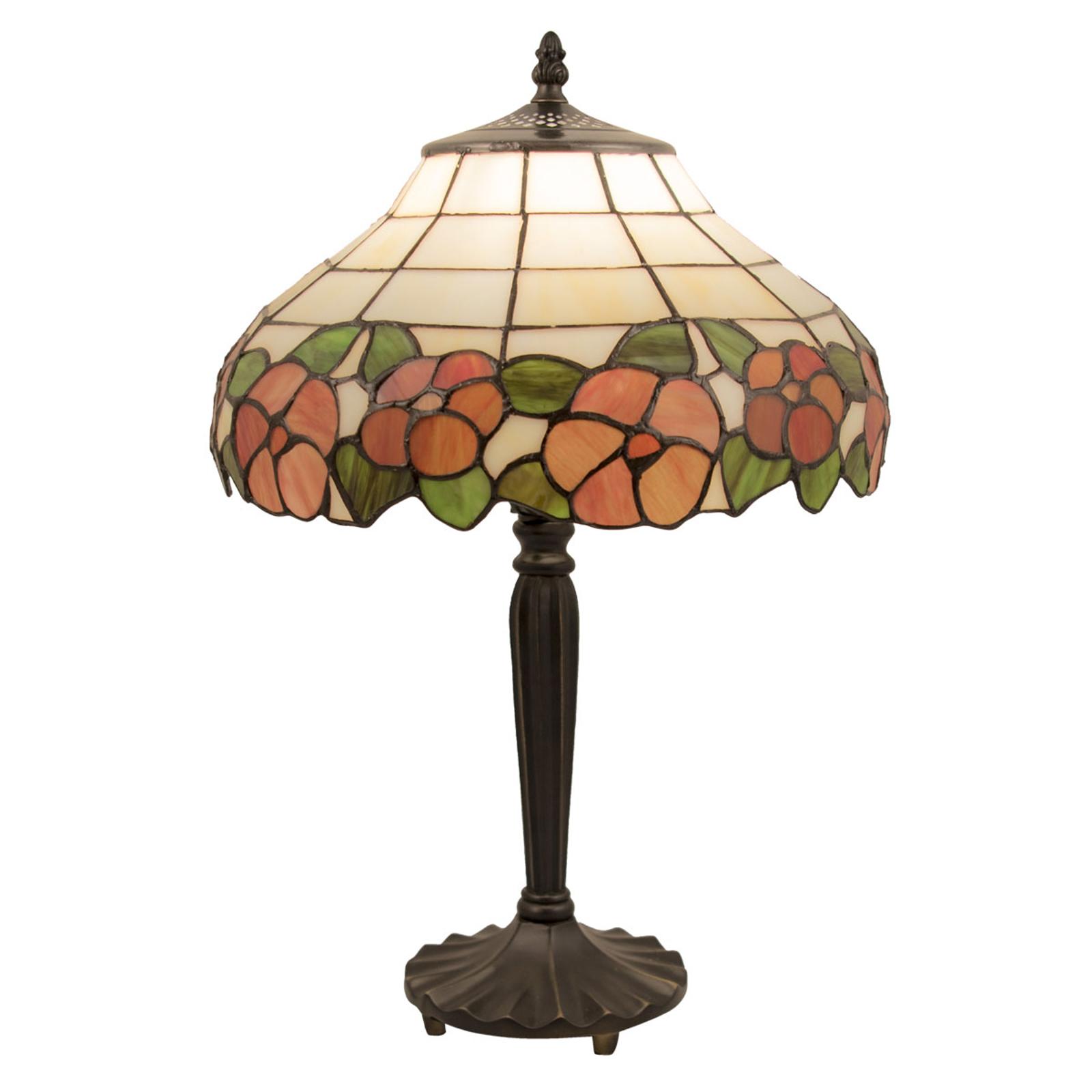 Tafellamp 5941 met bloemenmotief in glazen kap