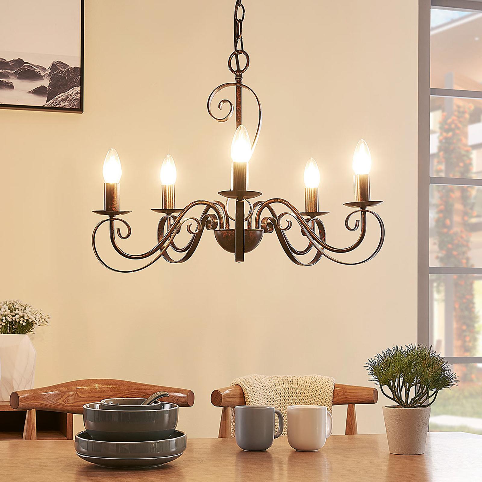 Lámpara de arañaCaleb con 5 luces, color óxido
