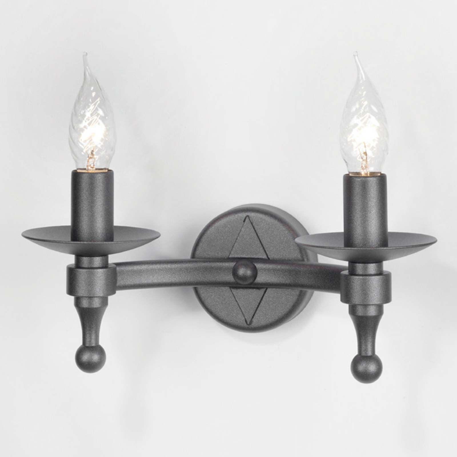 Smeedijzeren wandlamp WARWICK, grafiet