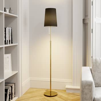 Lucande Pordis lampadaire, 164 cm, laiton-noir