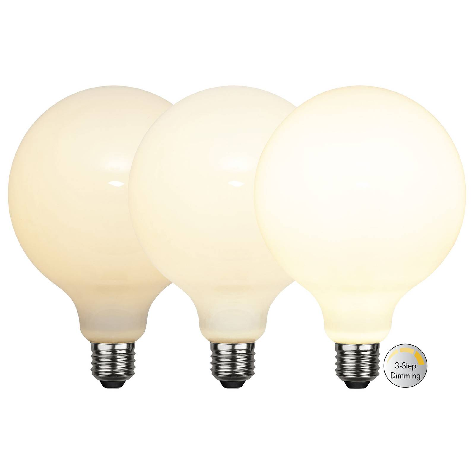 Lampadina LED globe E27 G125 7,5W 3-step-dim opale