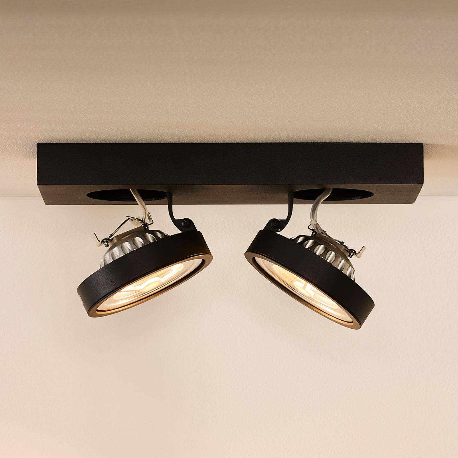 Zweiflammiger LED-Deckenspot Nenad, grau