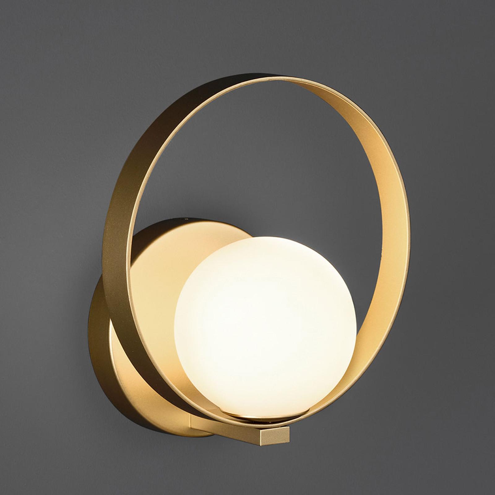 LED-Wandleuchte Halo, gold / opal
