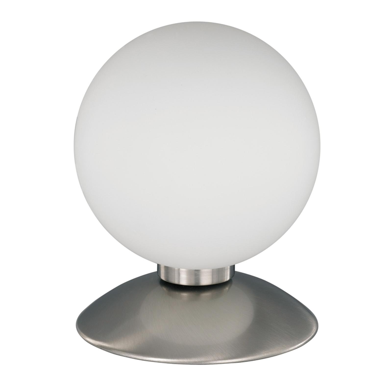 Lampada da tavolo sferica BUBBA, base look acciaio