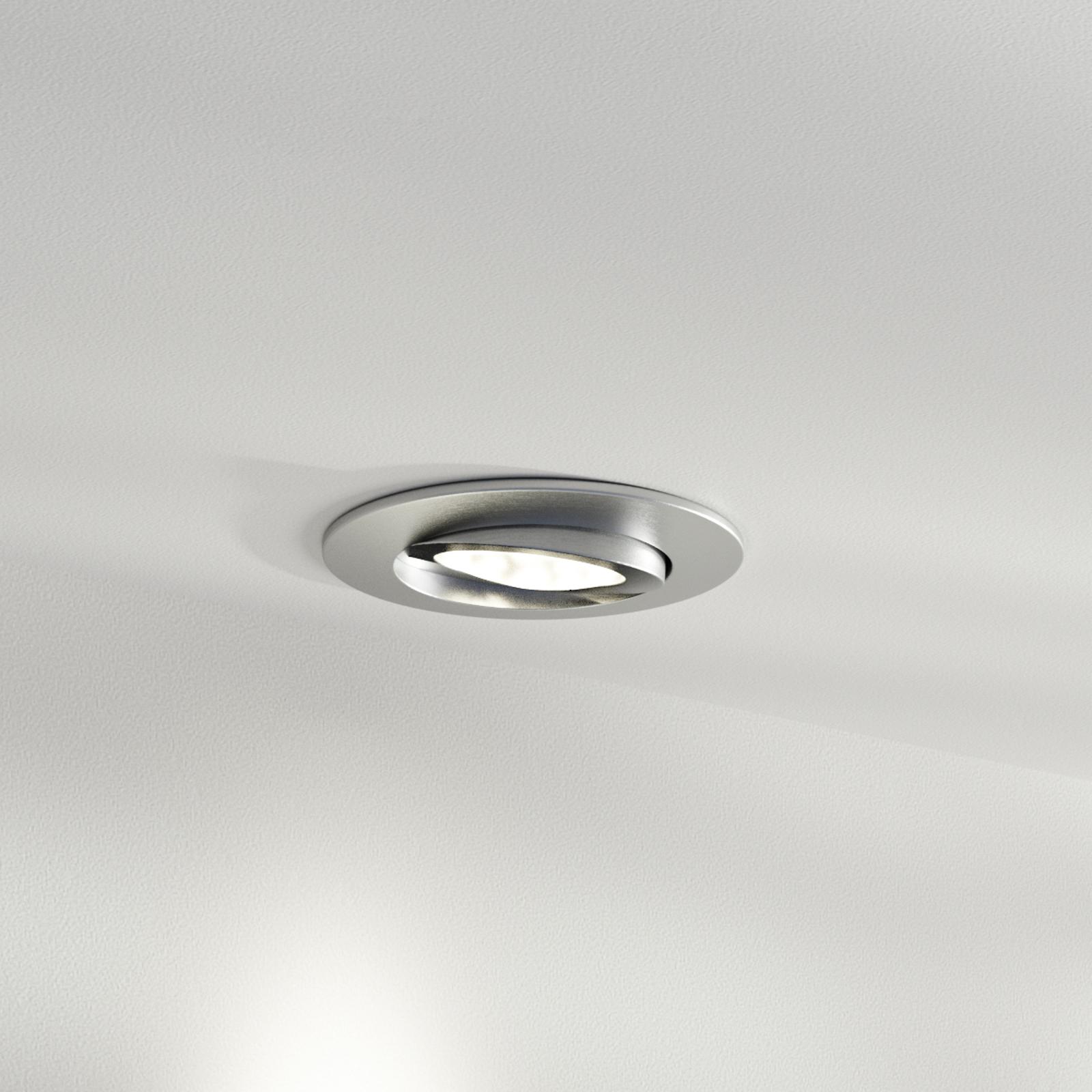 Faretto LED da incasso Zenit con IP44, nichel