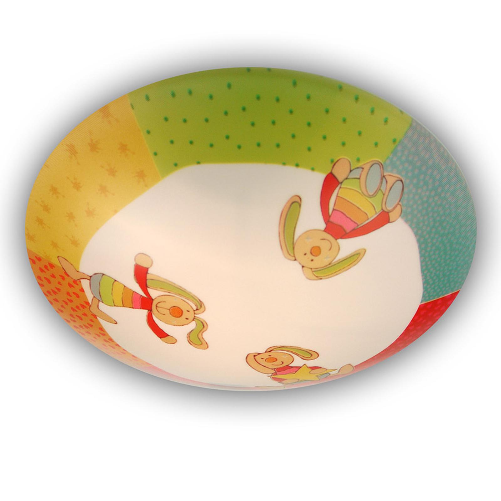 Rainbow Rabbit - rund loftlampe til børneværelse