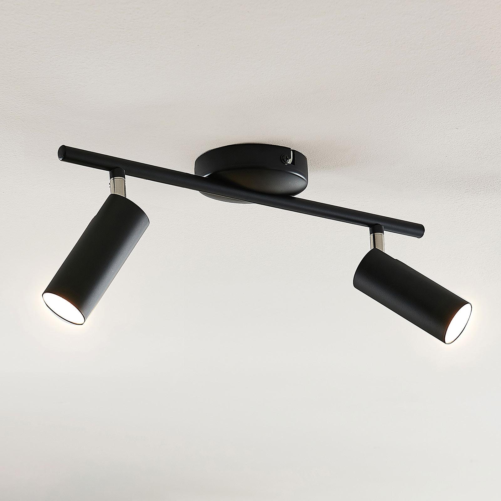 Lindby Camille LED-Deckenleuchte, schwarz, 2-fl.