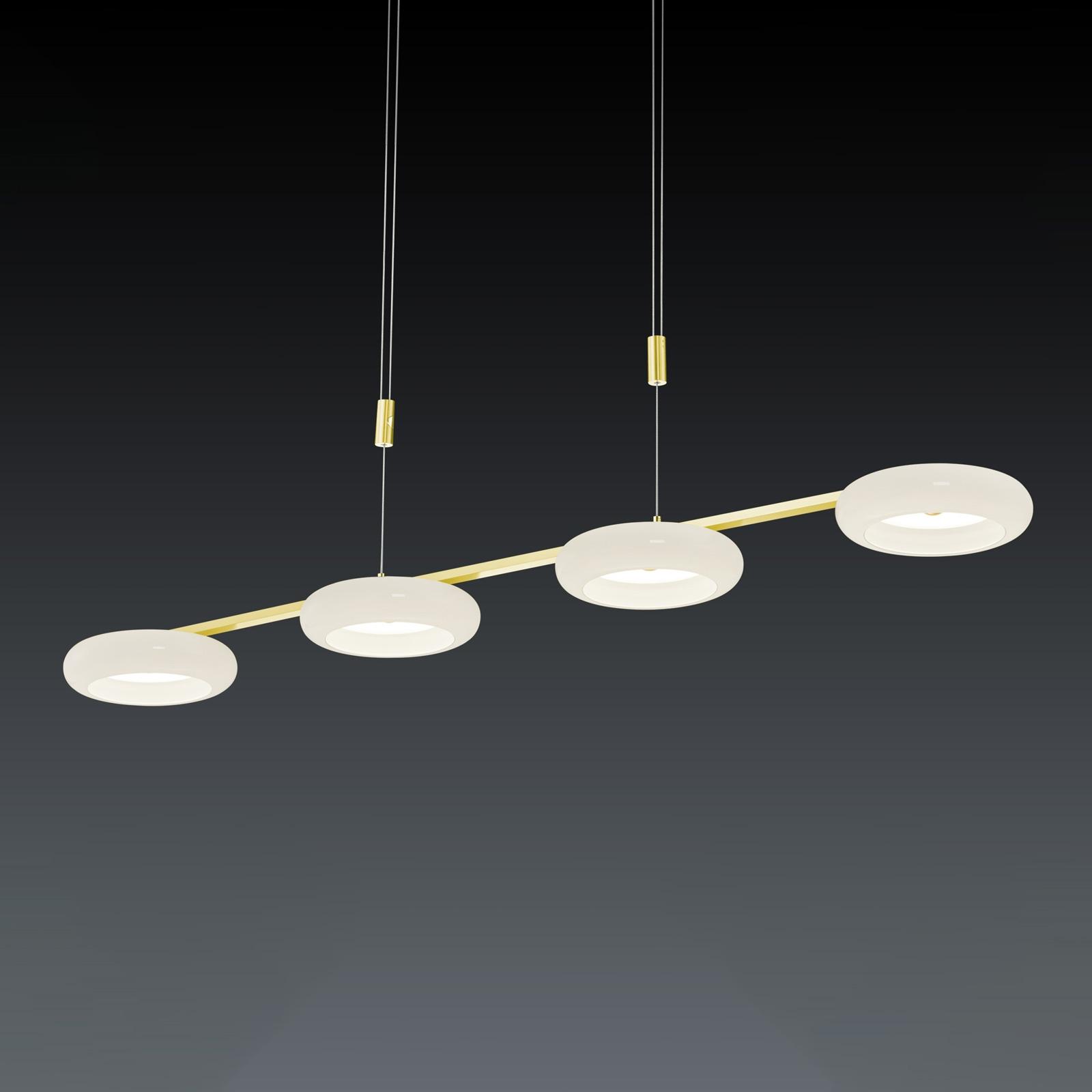 BANKAMP Centa hanglamp 4-lamps wit/messing