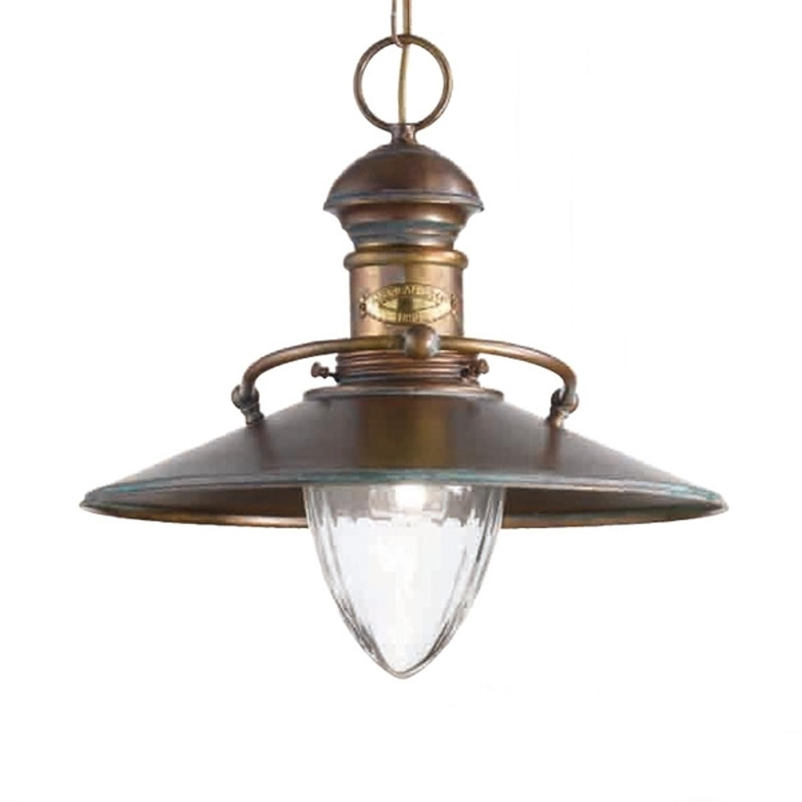 Antyczna lampa wisząca Scia brązowana zielona
