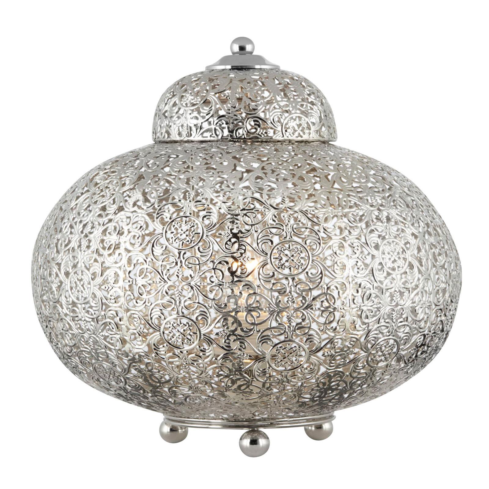 Lampa stołowa Moroccan Fretwork błyszczący nikiel