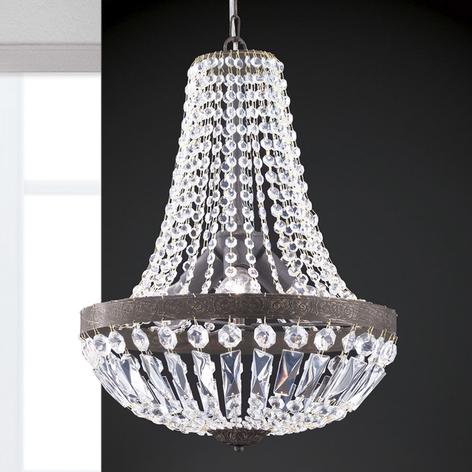 Závěsné světlo Andara, křišťálové řetězy, Ø 40 cm