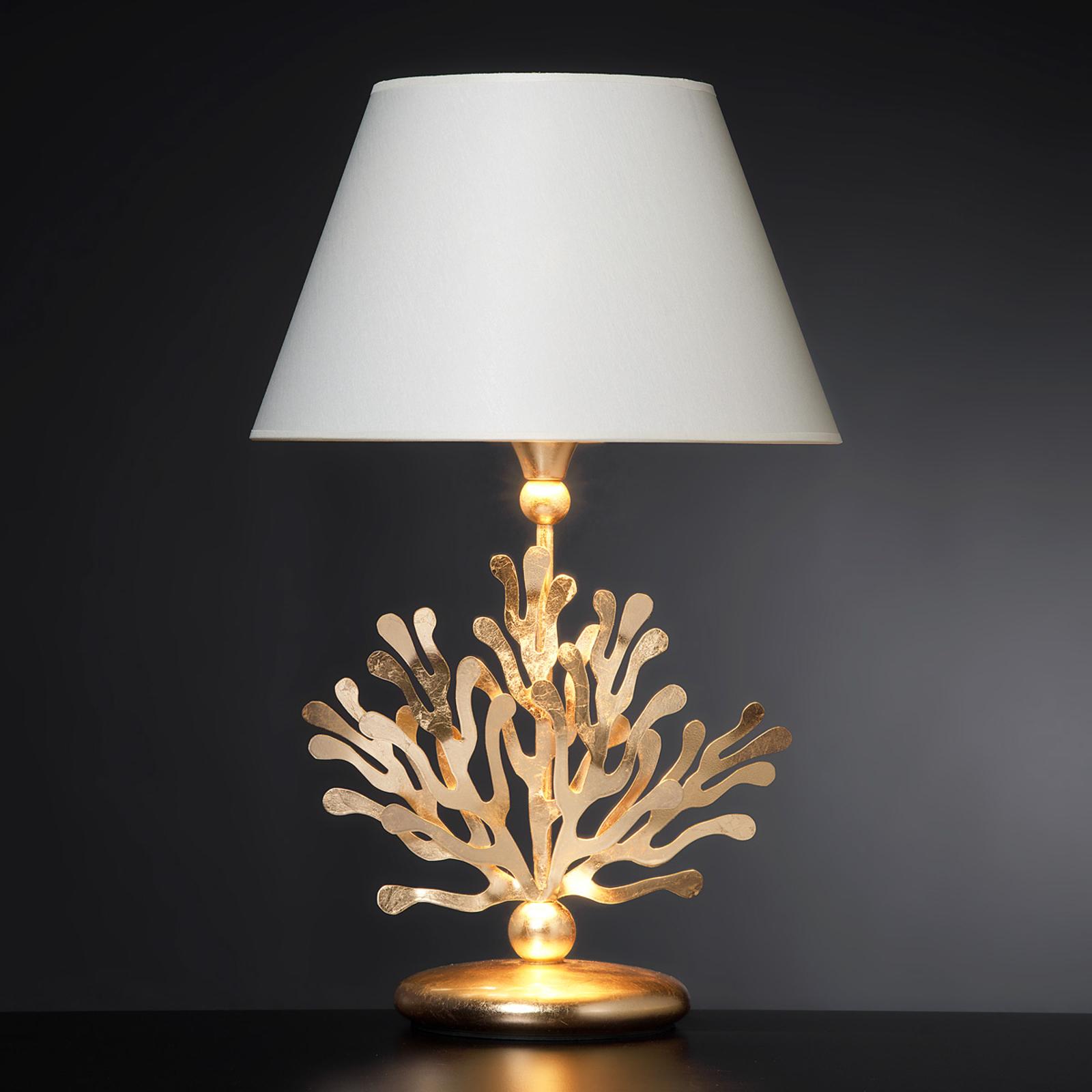 Lampada da tavolo Coral tessuto e oro in foglia