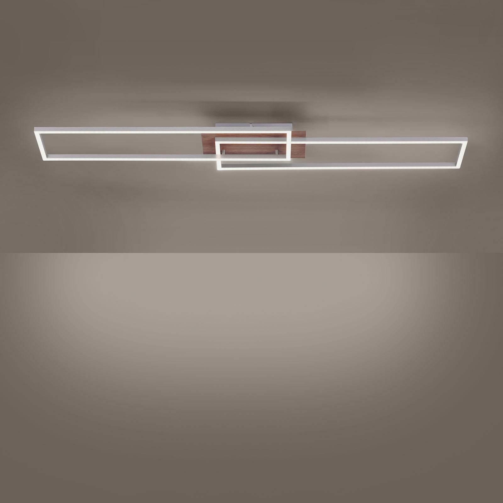 LED plafondlamp Iven houtdecor/staal 2-la.-rechth.