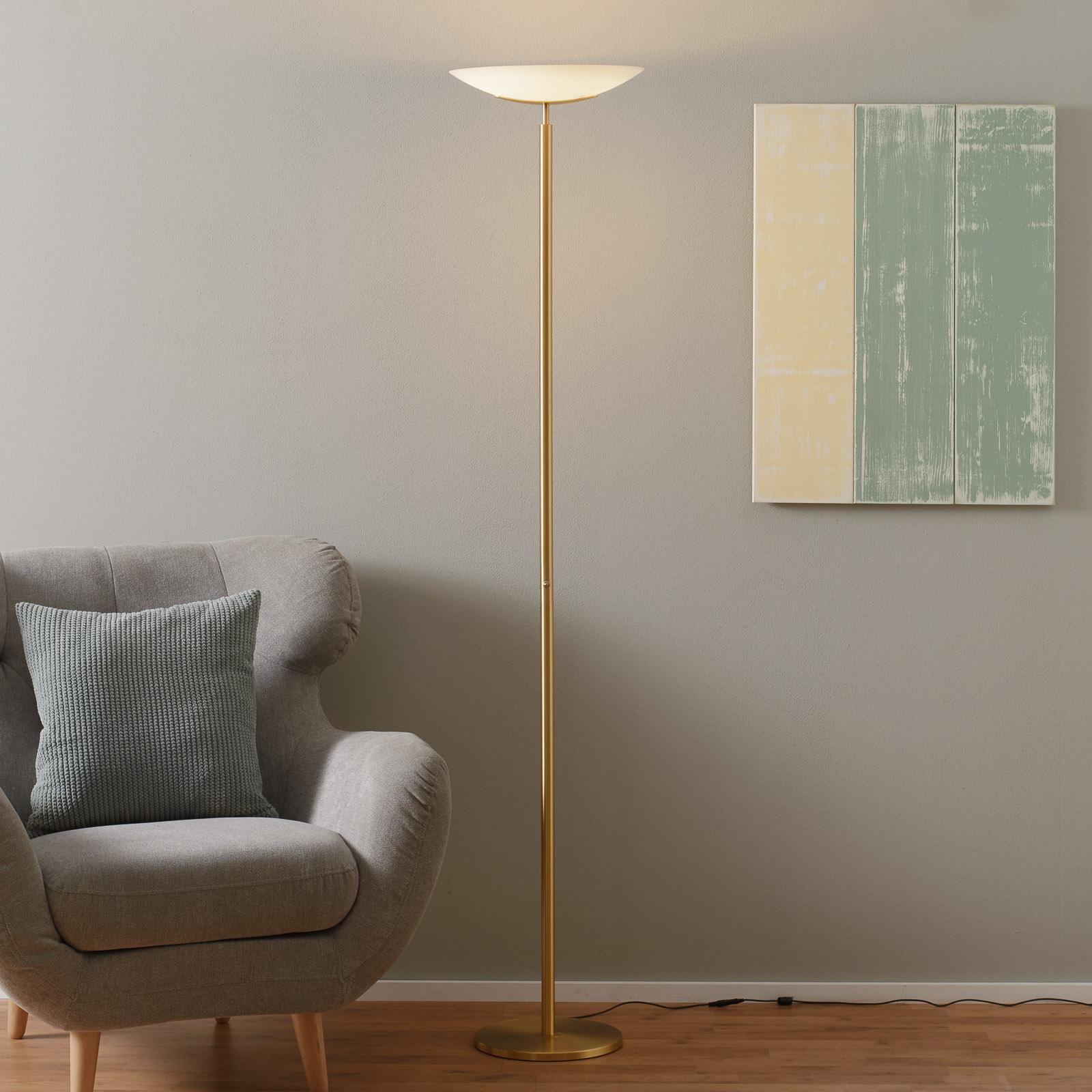 Högkvalitativ LED-uplight-golvlampa Mika i mässing