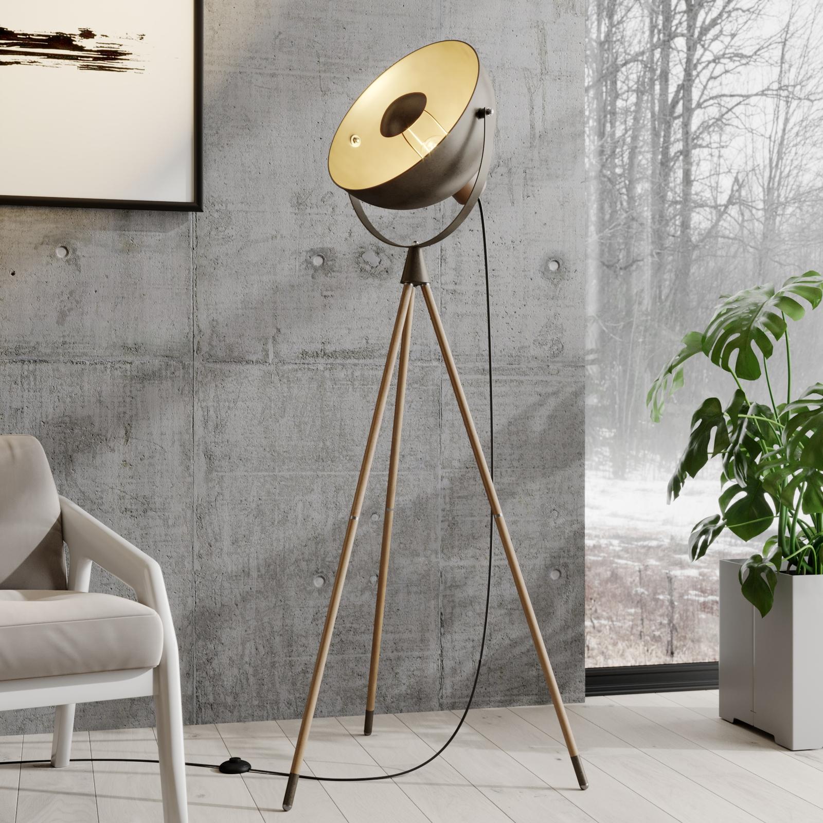 Lindby Scharlie lampada da terra paralume metallo