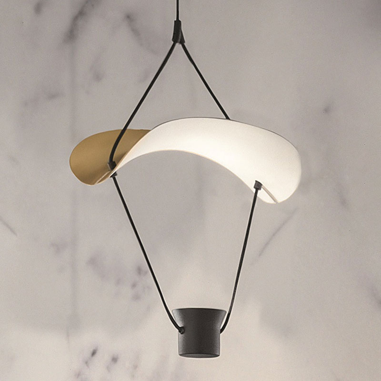 Vollee S1 P LED-hængelampe, 44 cm, up, guld