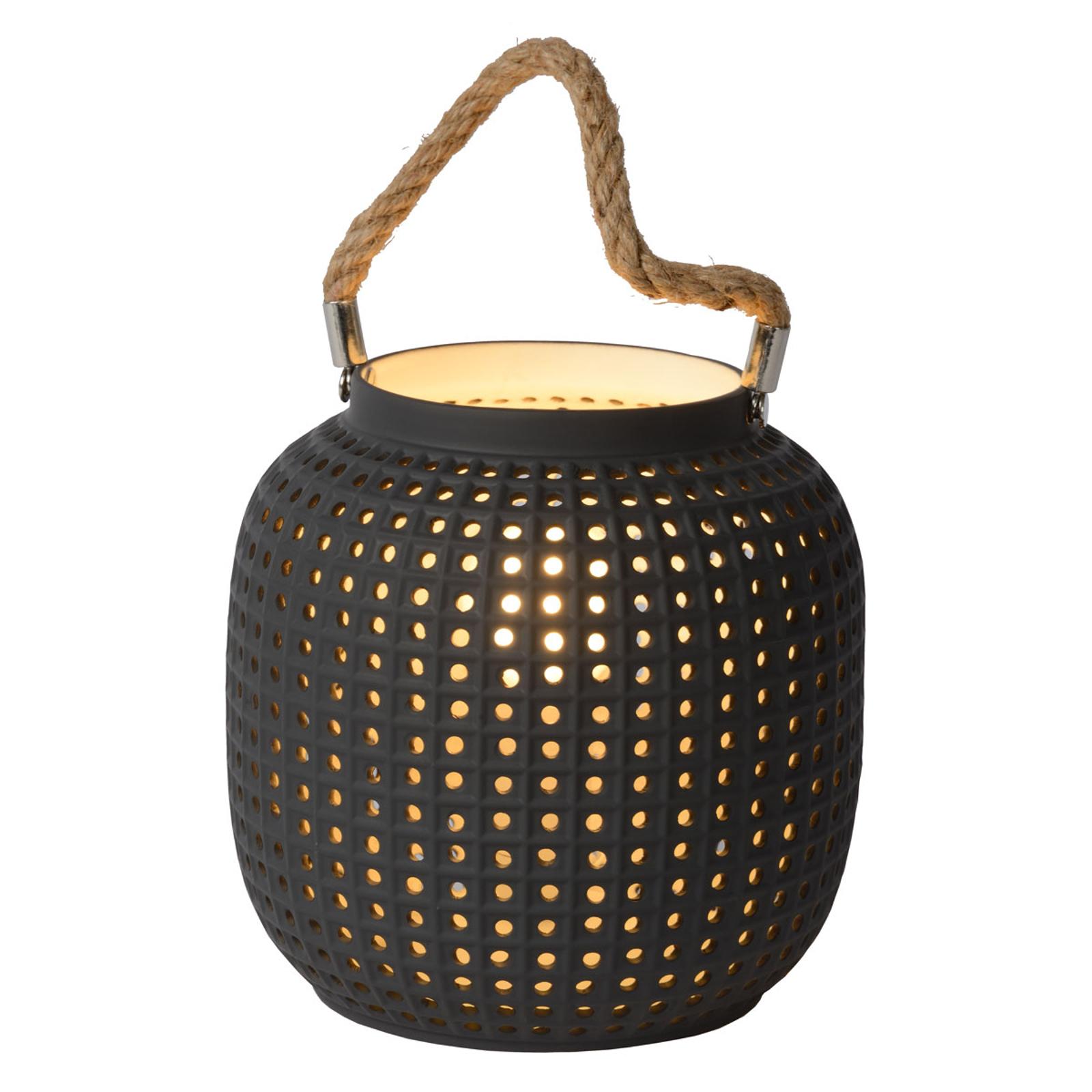 Tafellamp Safiya van porselein, antraciet