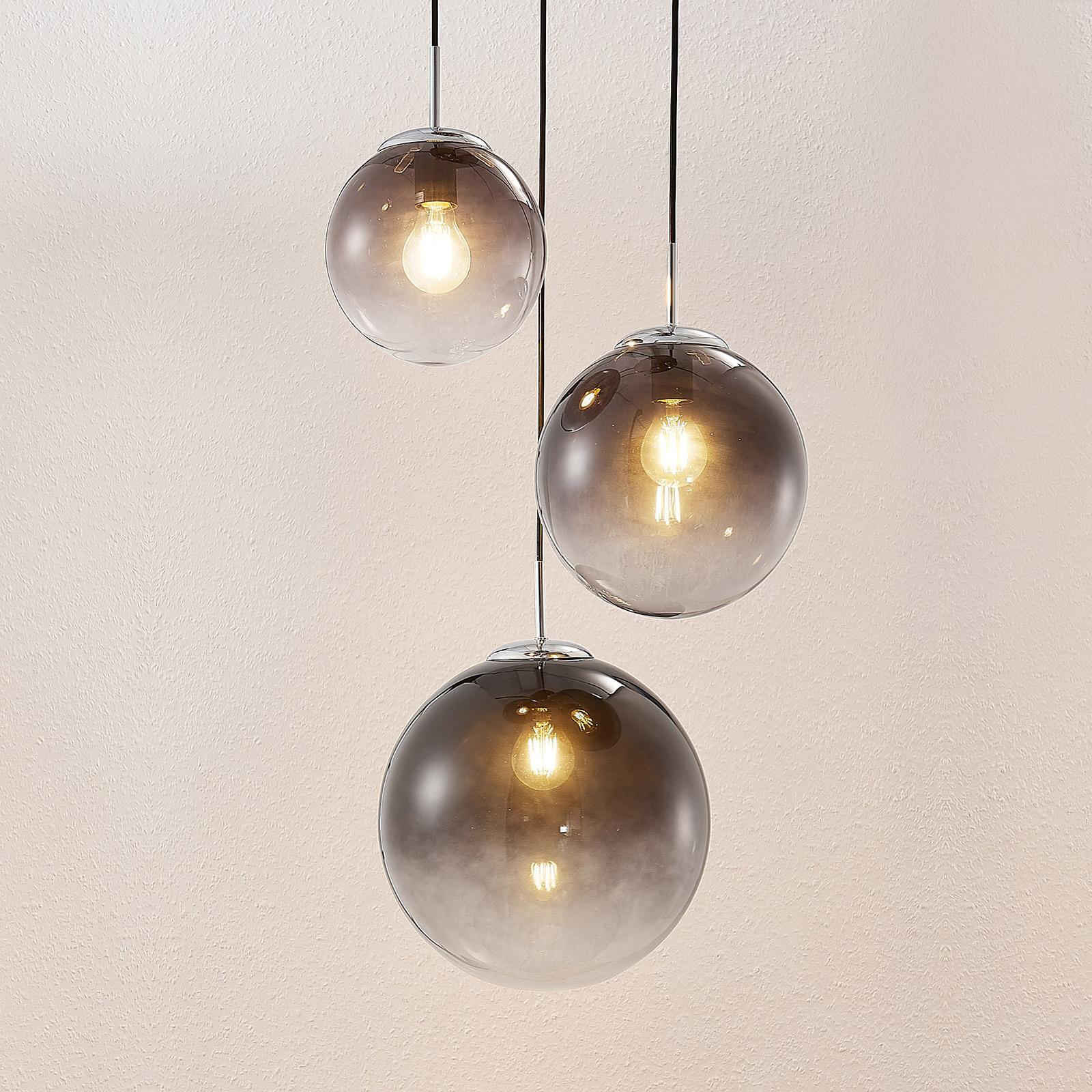 Lindby Robyn glas-pendellampe, 3 lyskilder