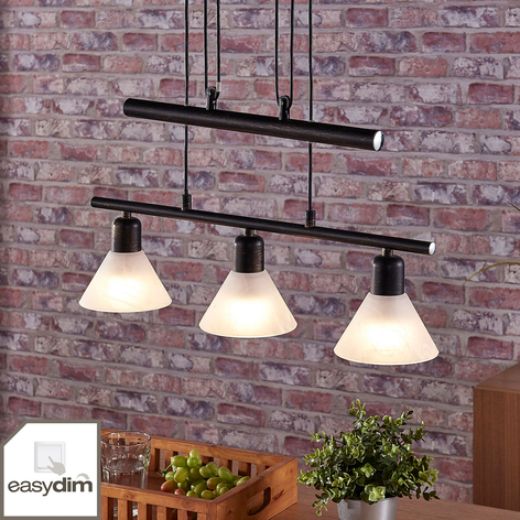 Suspension LED Eleasa, easydim à 3 lampes, noire