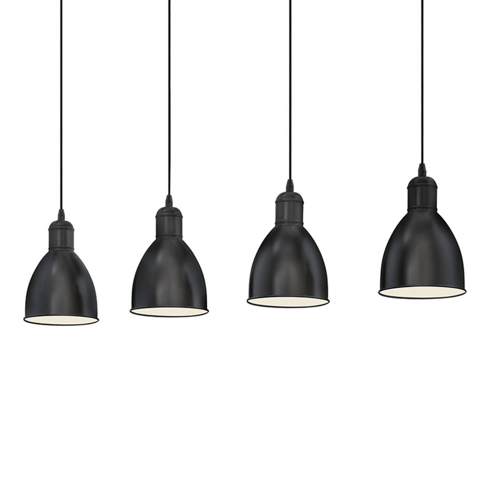 Hanglamp Priddy met vier zwarte kappen