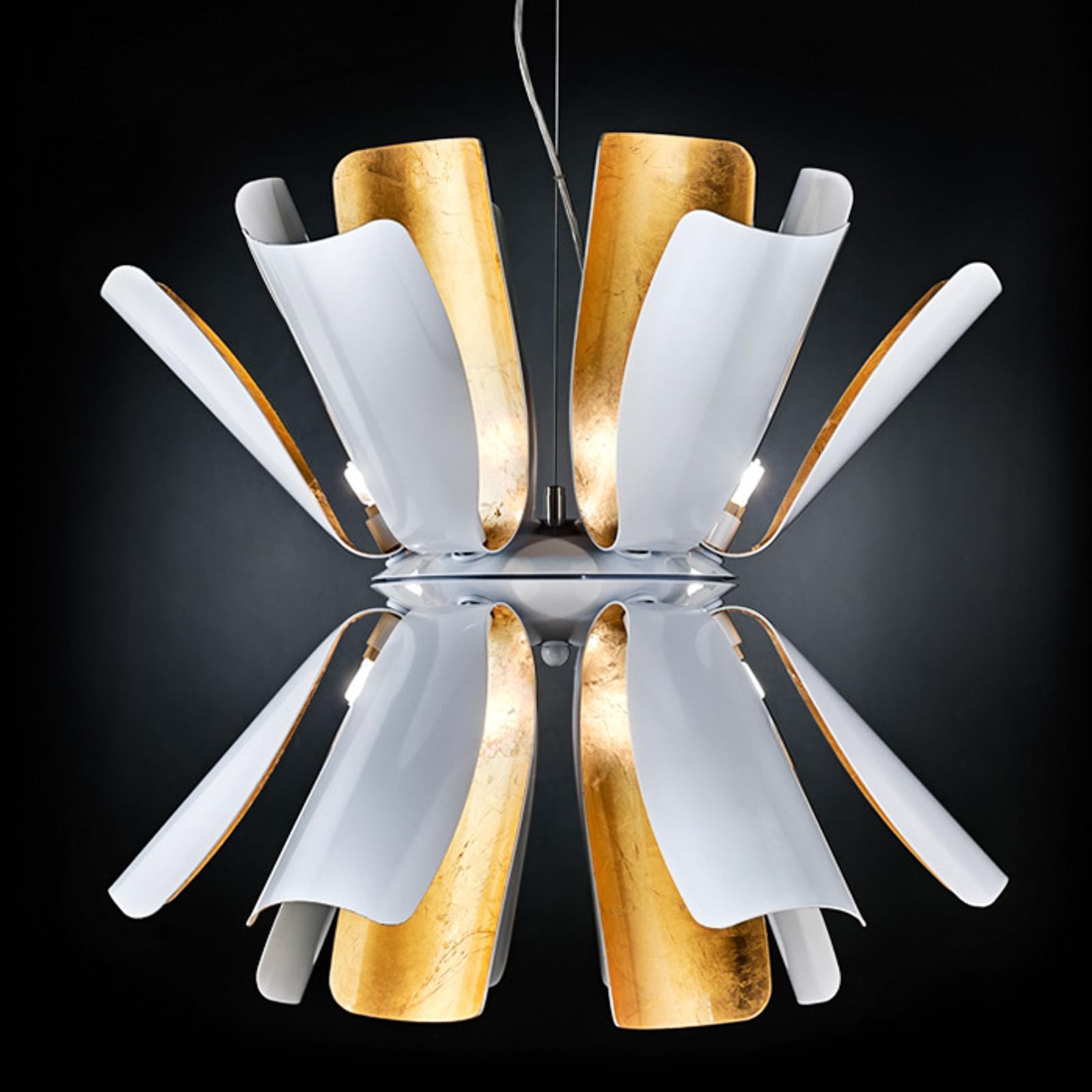Suspension design Tropic 60cm blanche/feuille or