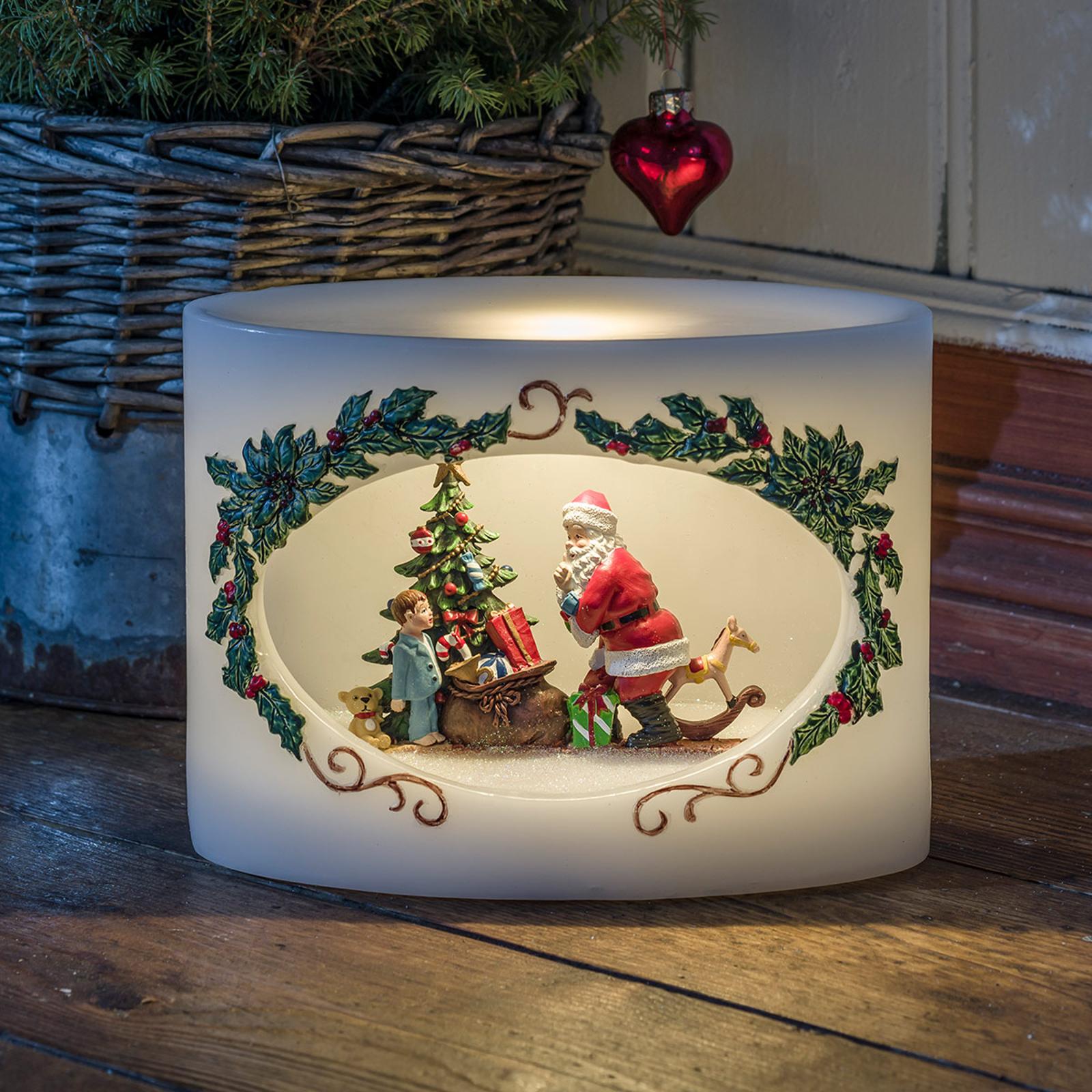 LED-aito-vahakynttilä joulupukki ja lapsi