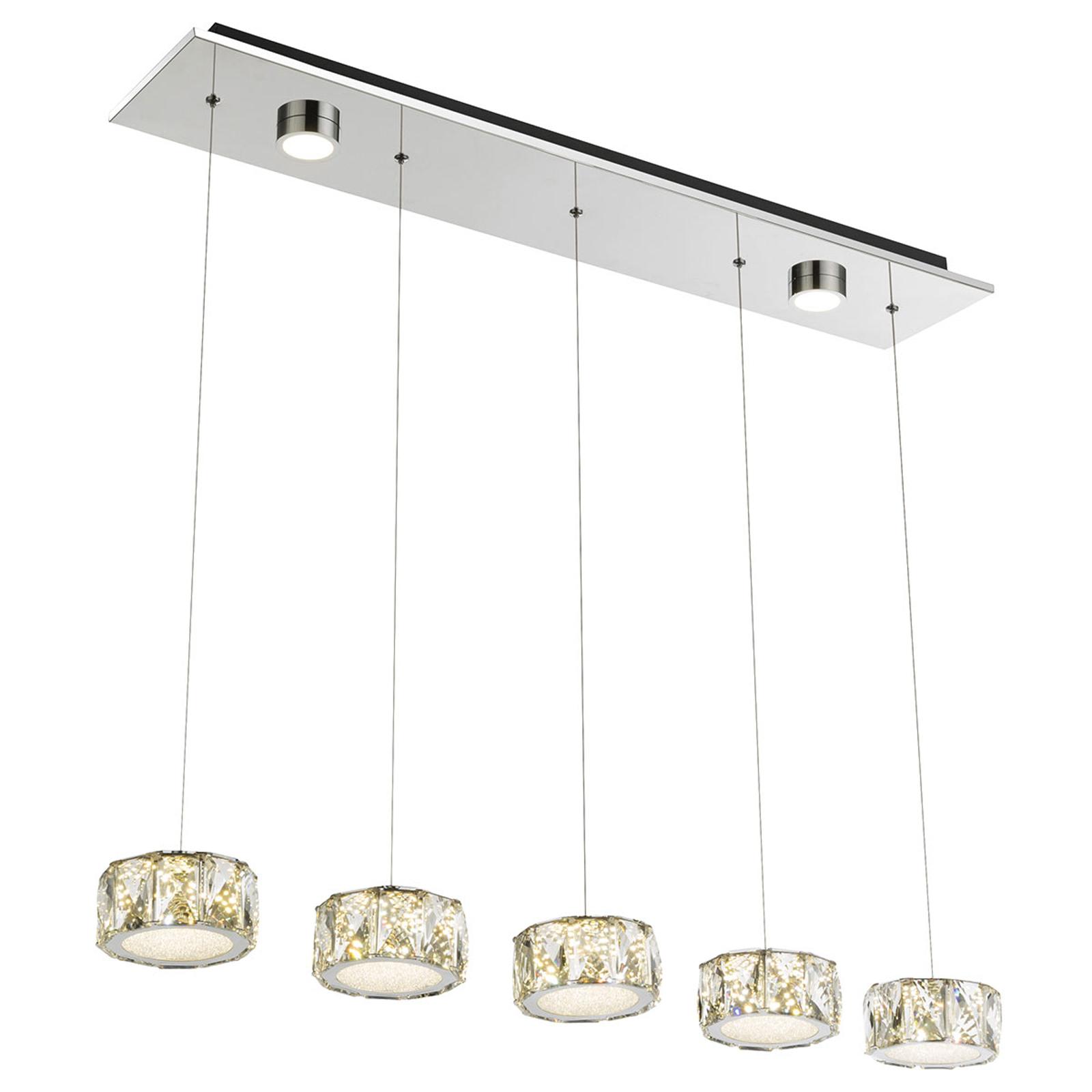 Amur – lampa wisząca LED 5-punktowa z 2 spotami