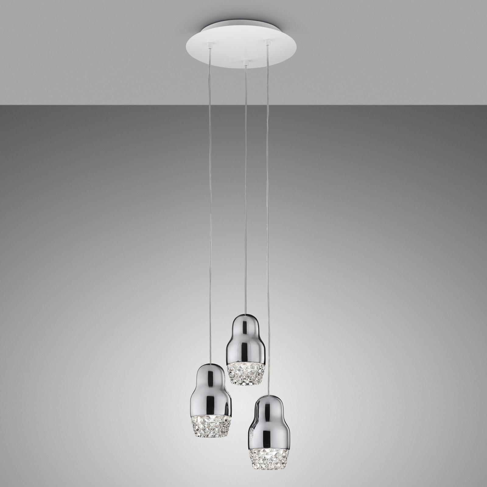 Lampada a sospensione LED Fedora 3 luci cromo