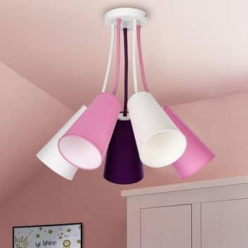 Plafón Wire Kids 5 luces, blanco/rosa/violeta