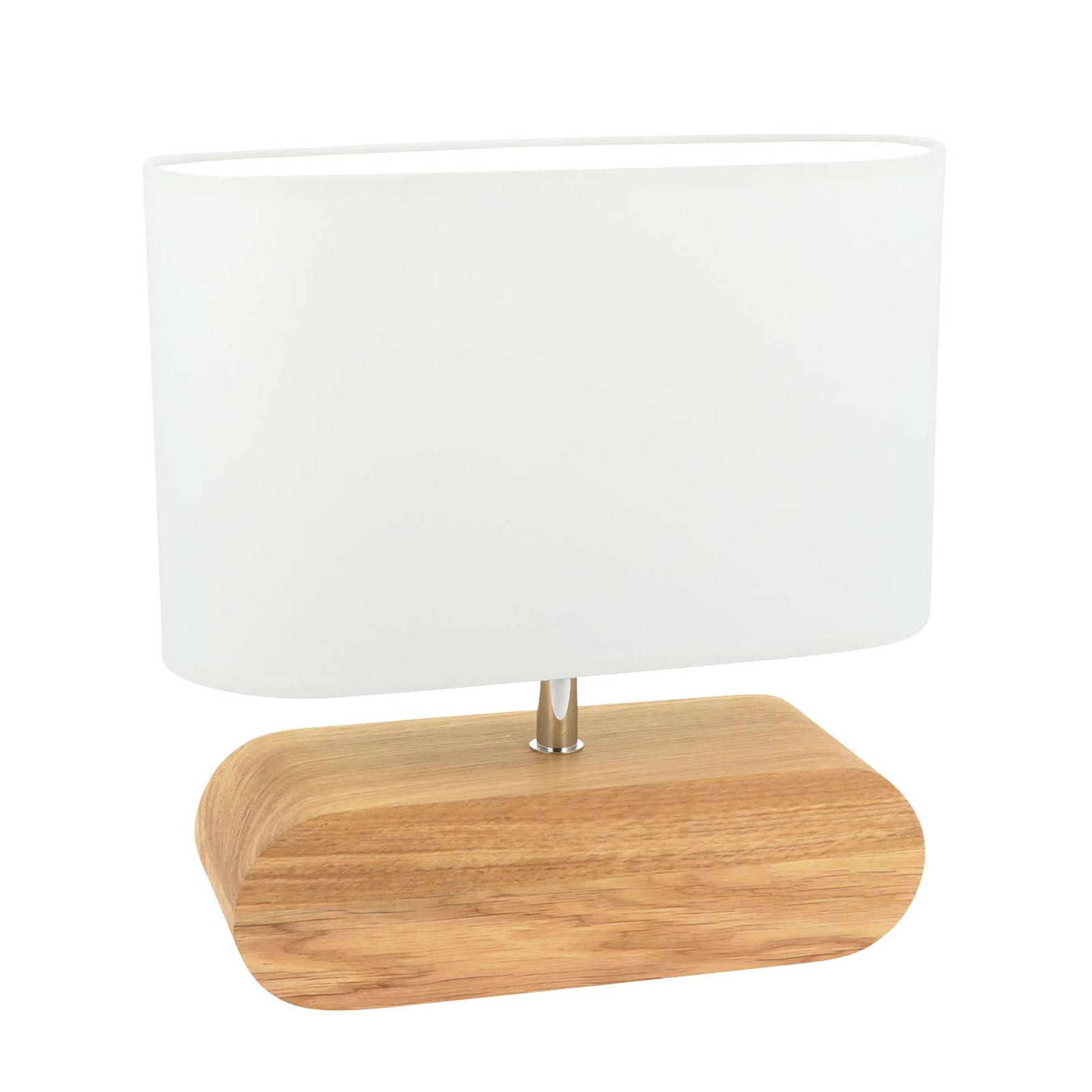 Tafellamp Marinna, voet eiken, kap wit
