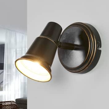 Arielle - nástěnná lampa v černé, starobylý vzhled