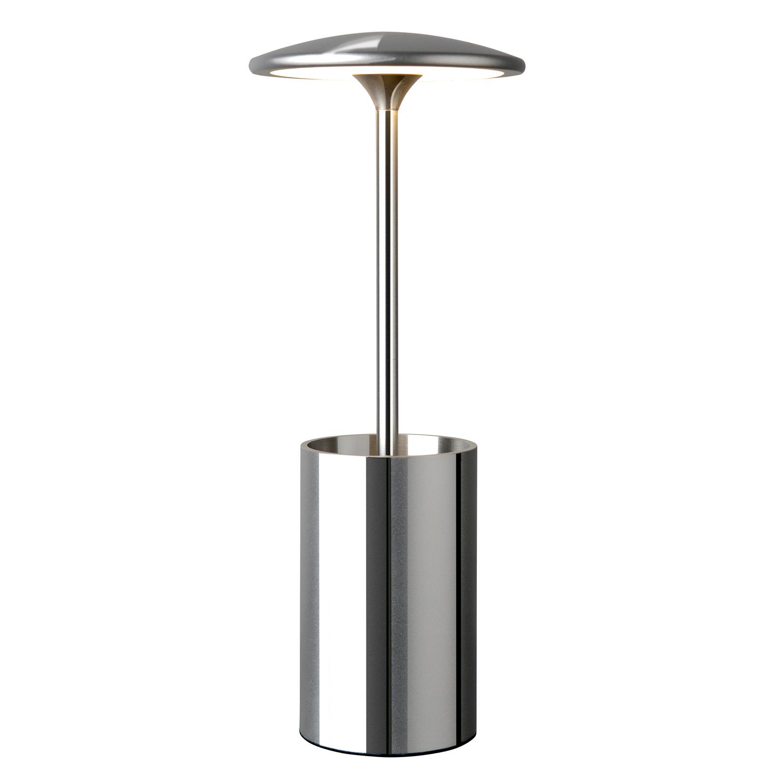 LED tafellamp Pott met opbergvat, chroom